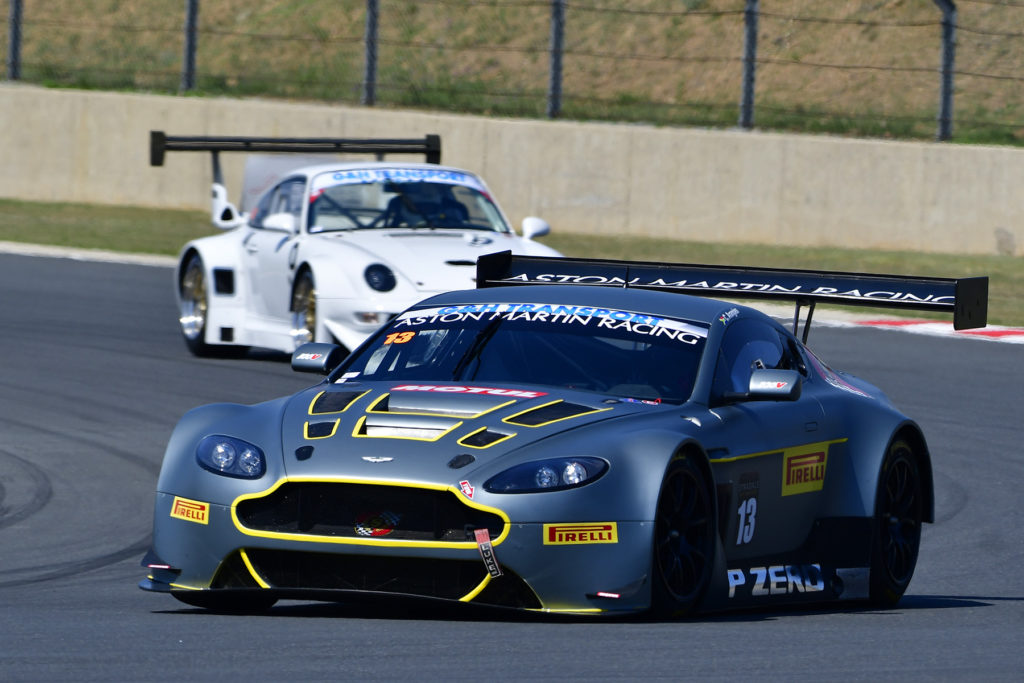 Charl Arangies won both of the day's G&H Transport Extreme Supercar race victories in his Stradale Aston Martin Vantage, setting a new overall Kyalami track record in the process - Picture by David Ledbitter