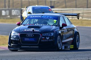 After winning both of Saturday's Zwartkops races, Michael Stephen leads the 2017 Sasol Global Touring Car title chase in his Engen Xtreme Audi. Picture: Dave Ledbitter