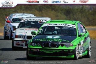Troy Cochran (Arrow Automotive BMW E46 325ti) locked in battle with Eversteyn