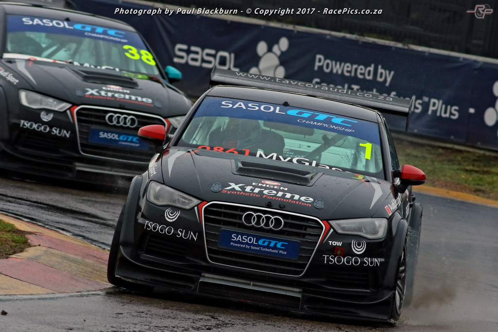 Michael Stephen clinched the 2017 Sasol Global Touring Car championship overall in his Engen Xtreme Audi at a sopping wet Zwartkops circuit. Picture: RacePics.co.za