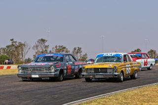 Sarel van der Merwe (1964 Ford Galaxie), Jeffrey Kruger (1964 Ford Comet) and Jonathan du Toit (1965 TAR Chev Nova) fought for the lead in Saturday's SKF Pre-1966 Legend Sakloon Car races at Zwartkops - Picture by RacePics.co.za