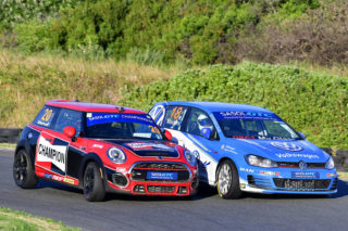 The GTC2 races should see a resumption of the fight between Devin Robertson (Champion Mini JCW) and Keegan Masters (VW Motorsport Golf Gti) - Picture by David Ledbitter