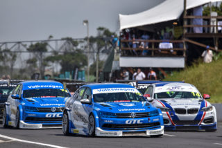 The works Volkswagen Jettas of Daniel Rowe and Keagan Masters, plus the EPS Couriers BMW of Johan Fourie should fight for podium places in the Global Touring Car races. Picture: Paul Bedford.