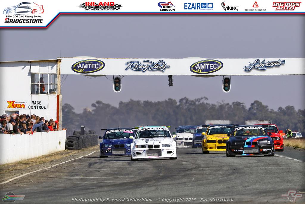 Race start of Bridgestone BMW Club Racing Series Round 5 at Midvaal Raceway on 2017-06-10