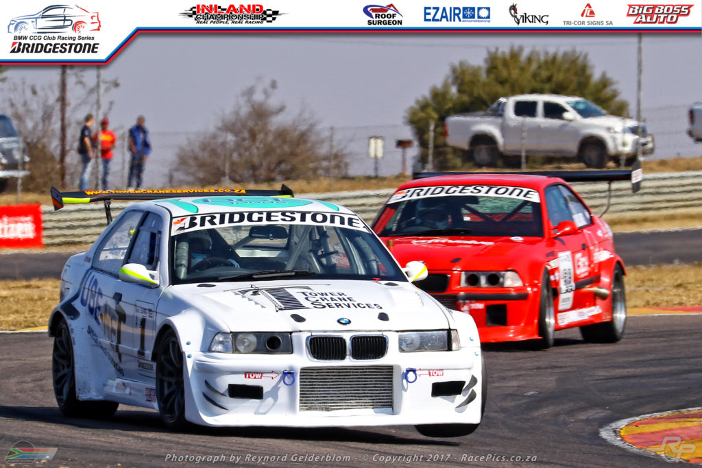 Julian Fameliaris being chased down by his cousin Dino in the BMW Gauteng Club Racing Series