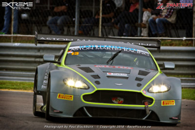 Charl Arangies (Stradale Aston Martin Vantage) took both of Saturday's G&H Transport Extreme Supercar races, setting a new overall lap record at Zwartkops in the process