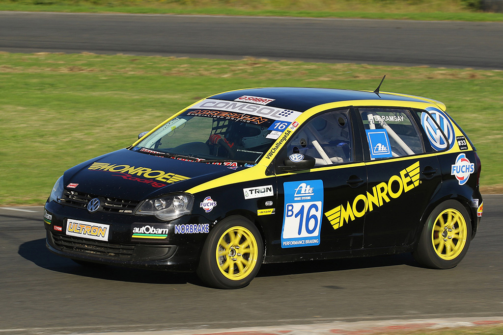 Lyle Ramsay driving his Monroe Racing Volkswagen Polo during the second heat at the Border Motorsport East London Grand Prix Circuit