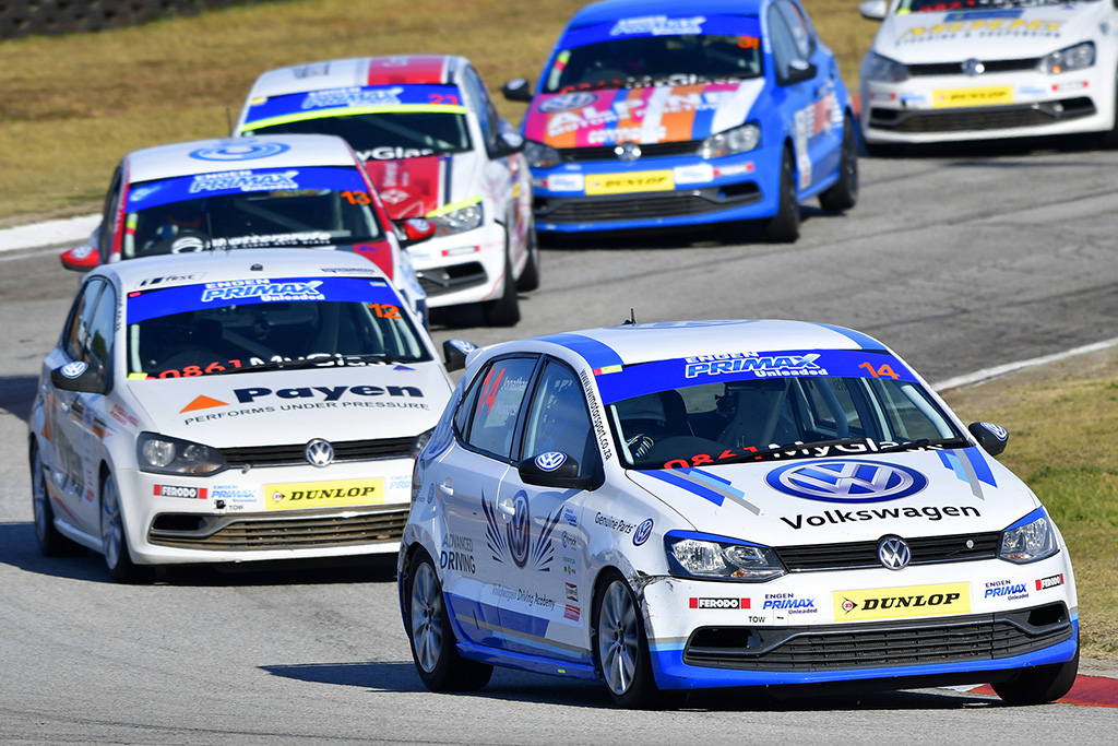 Volkswagen Driver Search graduate Jonathan Mogotsi took his VW Driving Academy Polo to a brilliant victory in Saturday's second Engen Volkswagen Cup race. - Picture by David Ledbitter