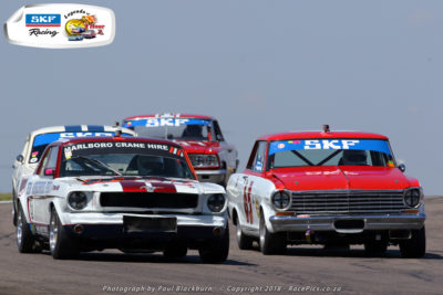 Mustang drivers Ben Morgenrood and Peter Lindenberg diced for the lead in both of Saturday's SKF Pre-1966 Legend Saloon Car races. Picture: RacePics