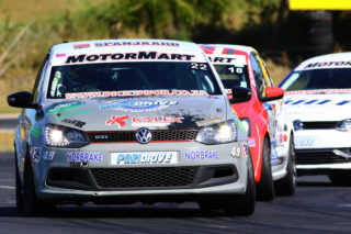 Stiaan Kriel leading the day's first MotorMart VW Challenge race and on his way to eventual victory - Picture by Paul Blackburn