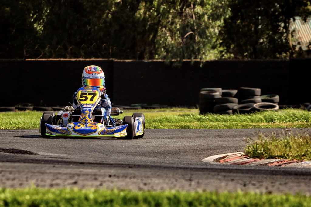 Luke Hill leading Heat 1 of Kid ROK during the opening round of the National ROK Cup at the Vereeniging Kart Circuit. Photo: Raymond Cornwell
