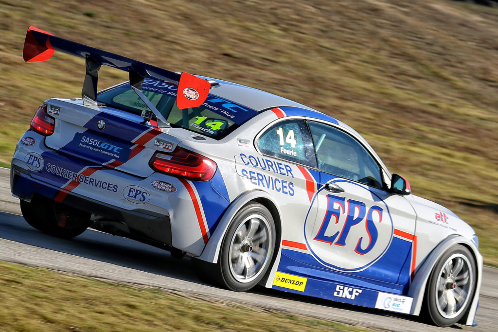 Johan Fourie pushing hard in his EPS Courier Service BMW GTC - Picture by Reynard Gelderblom
