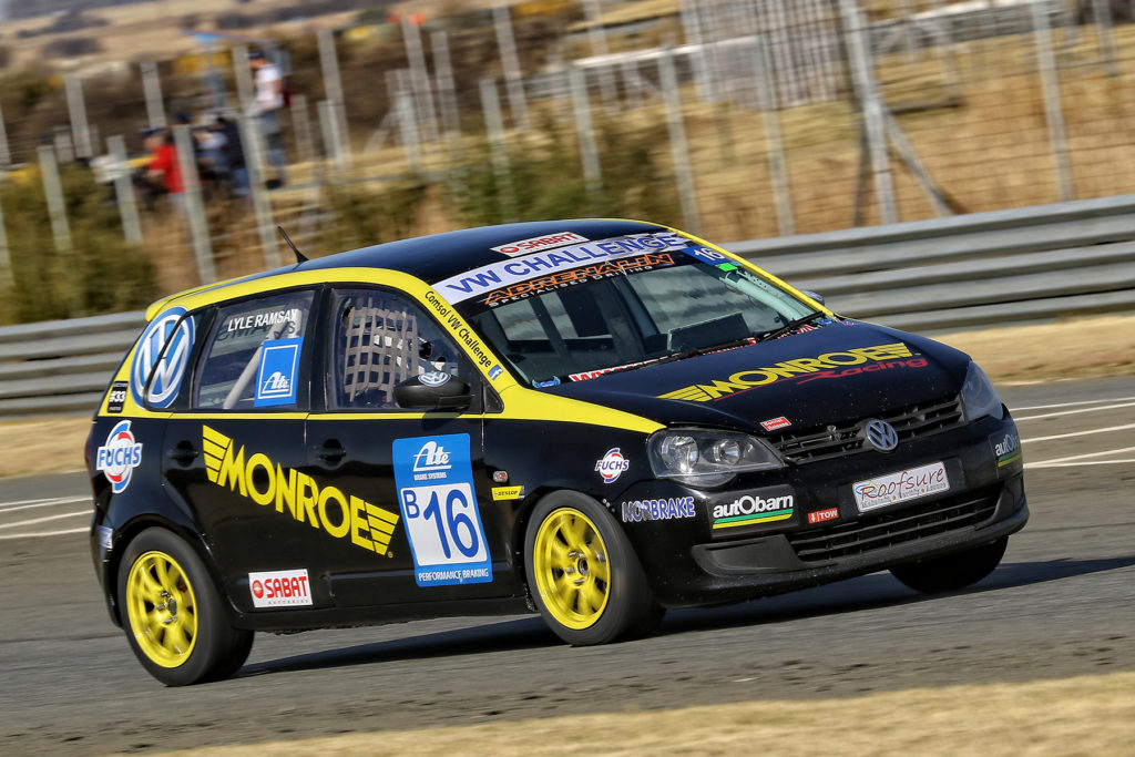 Lyle Ramsay during his sensation Race 2 challenge at the Phakisa Freeway - Picture by Reynard Gelderblom