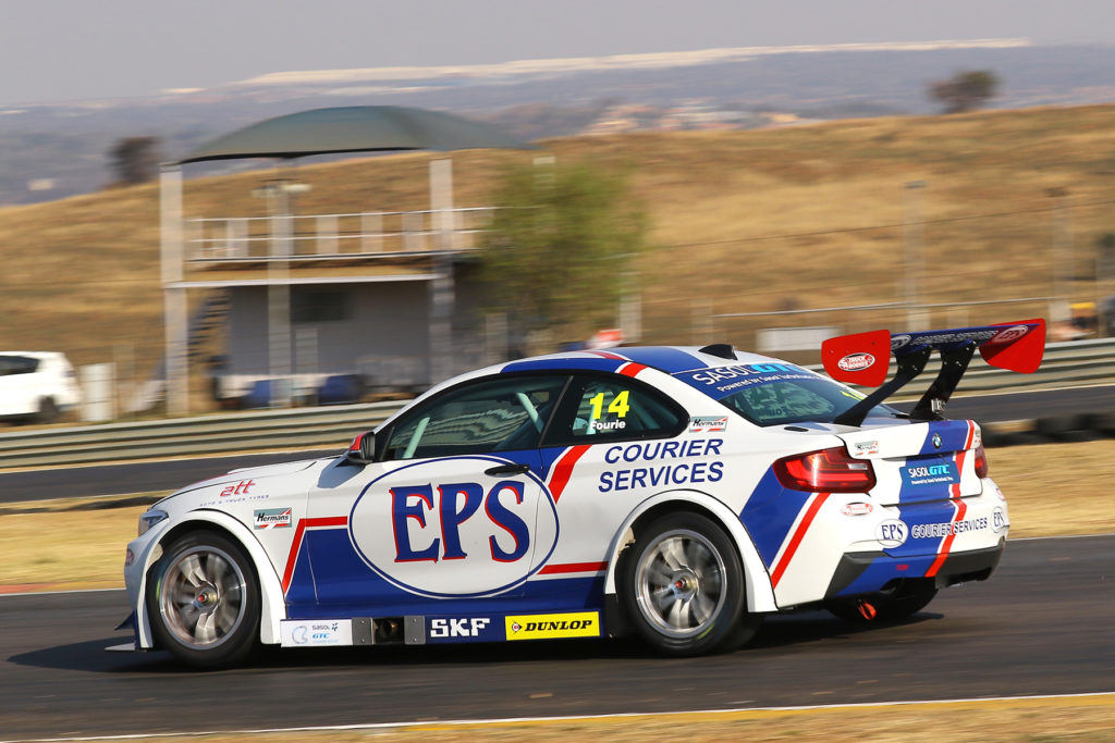 Fast and Furious Johan Fourie sets off after Michael Stephen during the closing stages of the second Sasol GTC Race - Picture by Reynard Gelderblom