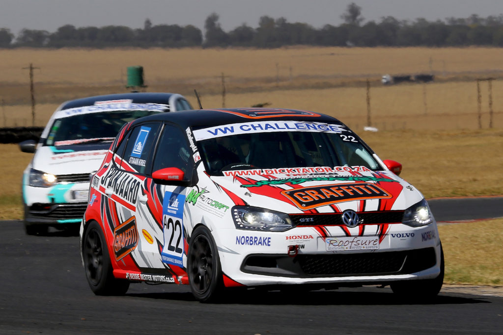 Stiaan Kriel holding off Wayne Crous at Red Star Raceway during the recent VW Challenge round - Picture by Reynard Gelderblom