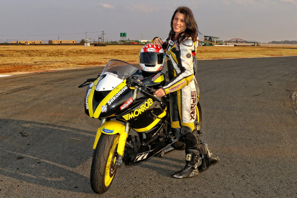 Zoe Boach next to the Monroe Racing South Africa Kawasaki ZX6 after shortly after her successful test at Red Star Raceway - Picture by Reynard Gelderblom