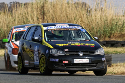 Lyle Ramsay holding off Adrian Wood during the second VW Challenge race at Midvaal Raceway - Picture by Reynard Gelderblom