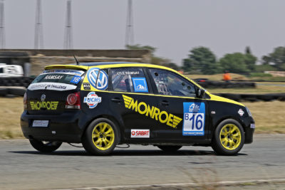 Lyle Ramsay driving his Monroe Racing South Africa Volkswagen Polo at Midvaal Raceway - Picture by Reynard Gelderblom