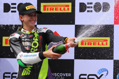 Get in there Savannah. The Monroe Racing rider had every right to celebrate on the Super300 podium following her efforts in the second race - Picture by Reynard Gelderblom