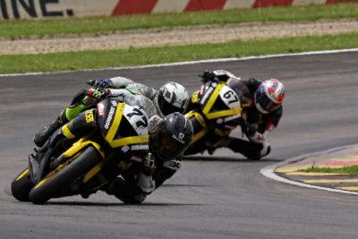 Savannah Woodward ahead in one of the best battles of the opening race - Picture by Reynard Gelderblom