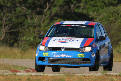 The new look Fuchs Lubricants livery sported by Calvin Rademeyer on his Volkswagen Polo - Picture by Reynard Gelderblom