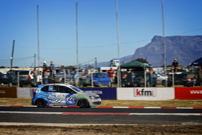 Table Mountain and enthusiastic Cape Town crowd made for a good backdrop to Stiaan Kriel's victory in the first MotorMart VW Challenge race - Picture by Jason Hanslo