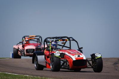 Jeffrey Kruger leading Rob Gearing during Round 4 of the Leet Lotus Challenge at Zwartkops Raceway