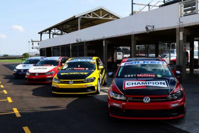 The four Signature Motorsport Volkswagen Polos to be driven by Altan Bouw, Matt Shorter, Clinton Bezuidenhout and Chris Shorter. Picture: Reynard Gelderblom