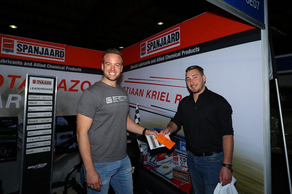 Stiaan Kriel with a potential new fan who will be attending the final 2017 Extreme Festival at Zwartkops Raceway - Picture by Reynard Gelderblom