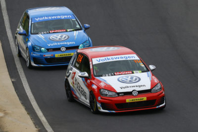 Adrian Wood aims to stay ahead of teammate and rival Brad Liebenberg at Zwartkops Raceway. Picture: Reynard Gelderblom