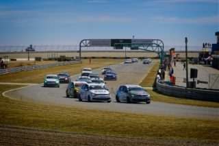Stiaan Kriel taking the lead of the day's first MotorMart VW Challenge race