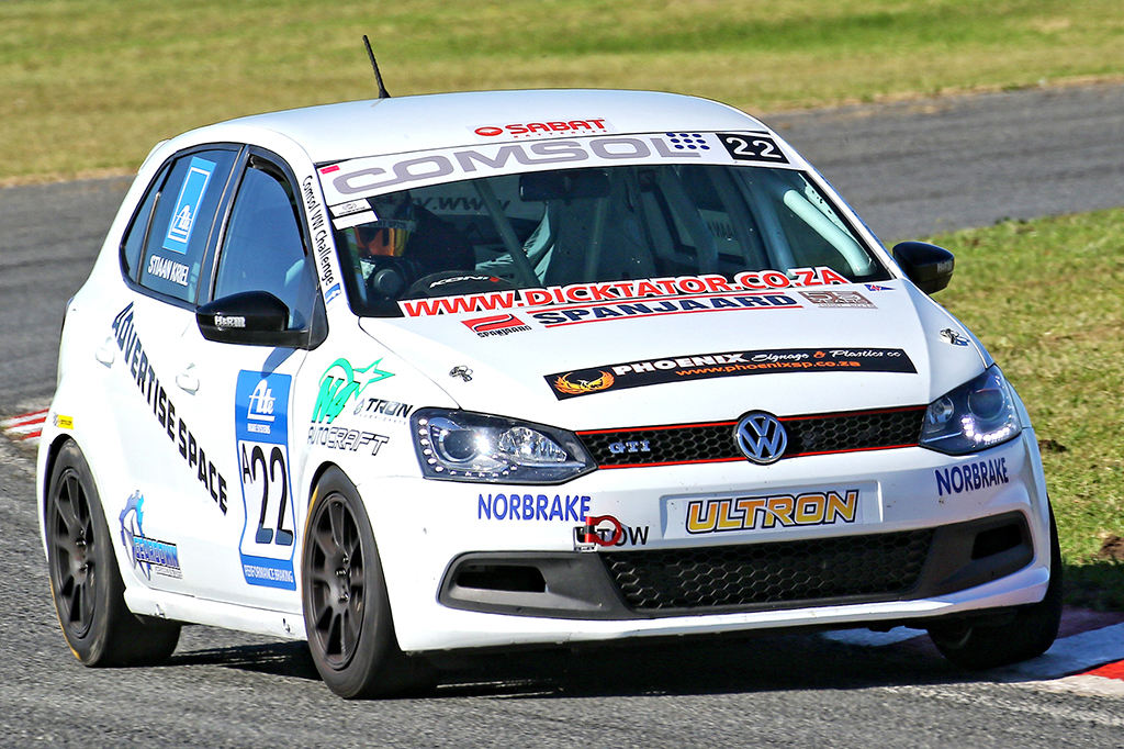 Stiaan Kriel overcame various troubles in East London to take the overall victory in his Spanjaard Volkswagen Polo