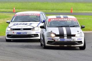 Waldie Meintjes (Allwagen Parts Polo) and Rory Atkinson (BHIT Polo) should be front runners in Saturday's MotorMart VW Challenge races at Zwartkops. Picture: Paul Bedford.